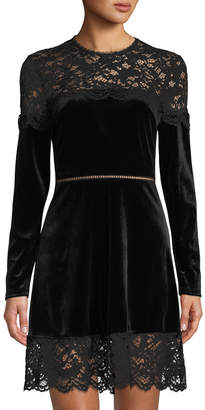 AVEC LES FILLES Lace-Trimmed Velvet Long-Sleeve Dress