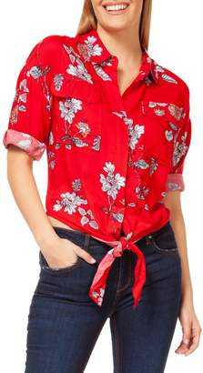 Dex Floral-Print Tie-Front Button-Down Shirt