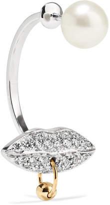 Delfina Delettrez 18-karat White And Yellow Gold, Diamond And Pearl Earring - White gold