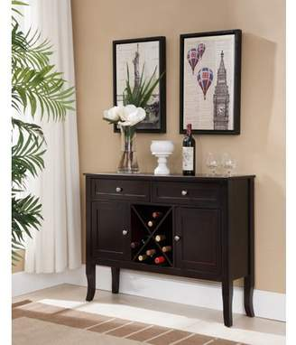 URBAN RESEARCH Pilaster Designs Eric Dark Cherry Wood Contemporary Wine Rack Buffet Display Console Table With Storage Drawers & Cabinet