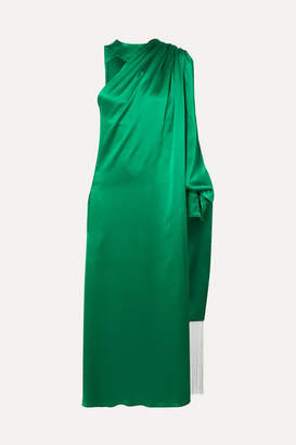 Hillier Bartley One-shoulder Draped Silk-satin Dress - Green