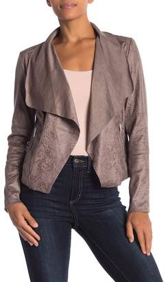 Bagatelle Shawl Collar Embossed Faux Suede Jacket