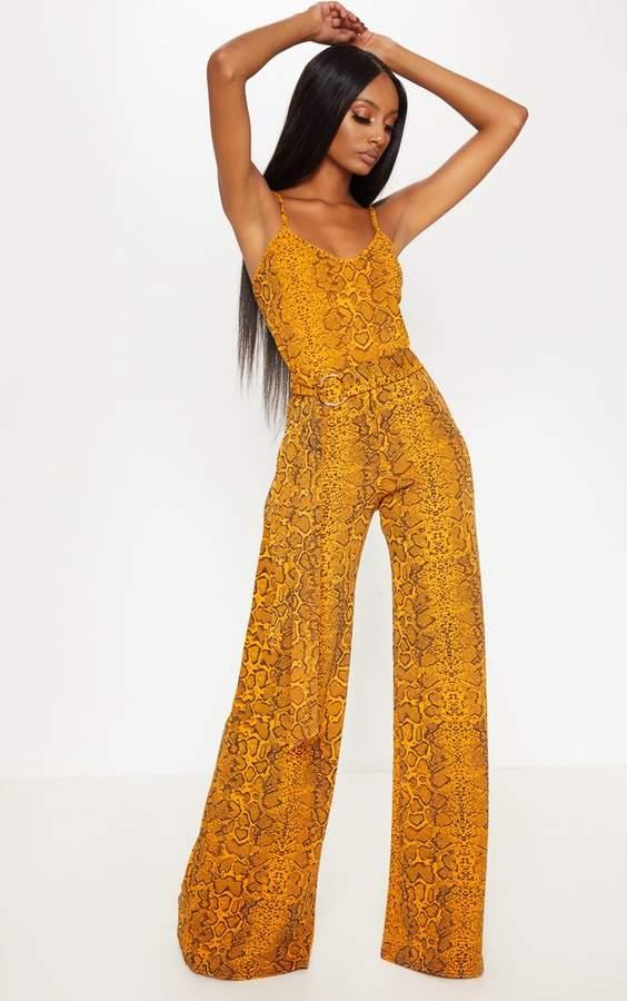 Mustard Snake Print O-Ring Belt Jumpsuit