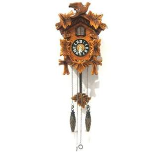ALEKO Handcrafted Wooden Cuckoo Wall Clock with Chirping Bird - 9.5 x 7 x 4 Inches - Brown