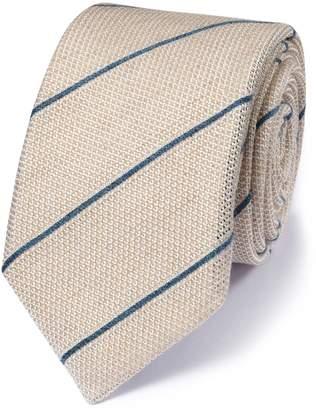 Charles Tyrwhitt Stone Silk Mix Italian Luxury Stripe Grenadine Tie