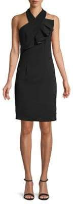Carmen Marc Valvo Crossover Halterneck Sheath Dress
