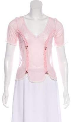 Dolce & Gabbana Lace Sheer Short Sleeve Top