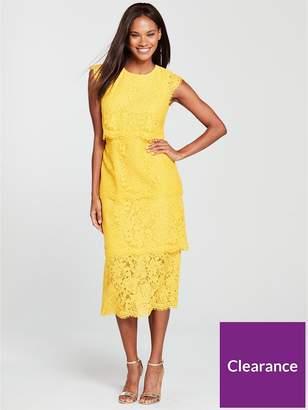 Warehouse Tiered Lace Dress - Yellow