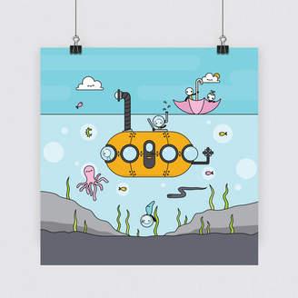 Tiny Grey 'Underwater Fun' Limited Edition Art Print