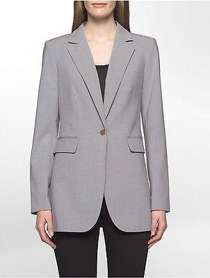 Calvin KleinCalvin Klein Womens Luxe One-Button Long Suit Jacket