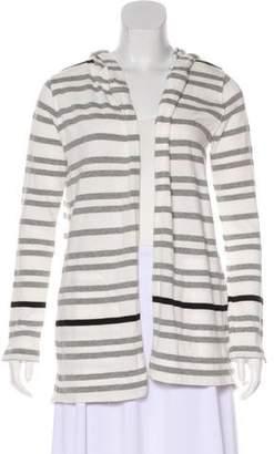 White + Warren Striped Open-Front Cardigan