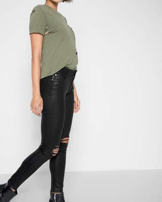 7 For All Mankind Ankle Skinny with Destroy in Coated Destroy