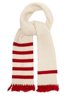 Prada - Fringed Wool Blend Scarf - Mens - White Multi