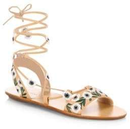 Loeffler Randall Fleura Embroidered Vachetta Leather Ghillie Sandals