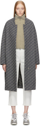 Stella McCartney Grey Wool Monogram Coat