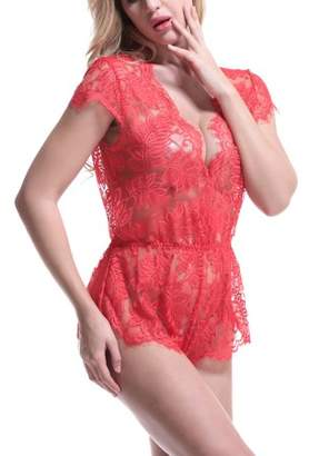 Anyou Women Lingerie Lace Teddy Features Plunging Eyelash and Snaps Crotch Red Size XXL