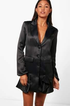 boohoo Boutqiue Natalie Frill Hem Detail Blazer Dress