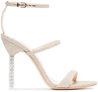 Sophia Webster champagne glitter rosalind 100 leather sandals