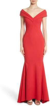 Chiara Boni Tally Off the Shoulder Trumpet Gown