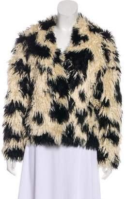 Tibi Surplice Neck Faux Fur Jacket