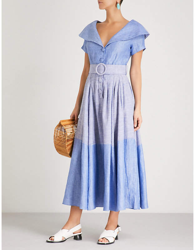 GUL HURGEL Belted linen and cotton-blend midi dress