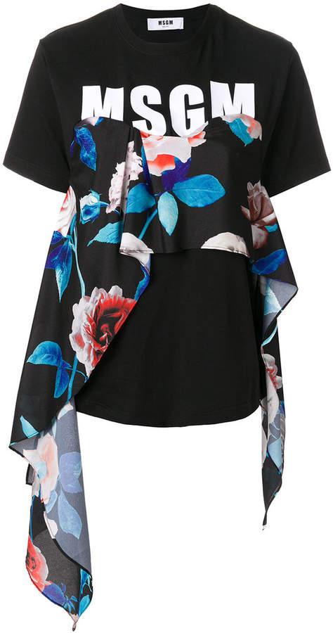 MSGM floral panel logo T-shirt