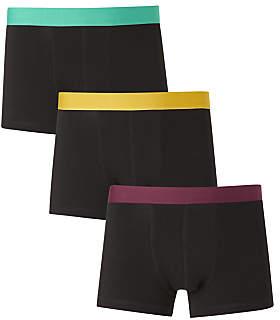 John Lewis & Partners Colour Waistband Trunks, Pack of 3, Light Green/Yellow/Purple