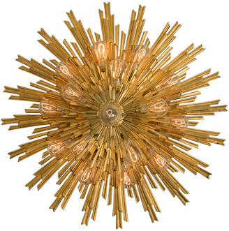 Rejuvenation Round Gilt Bronze Sunburst Flush Mount by E.F. Caldwell