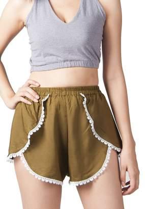 Lofbaz Women's Printed Lace Summer Shorts Blue S