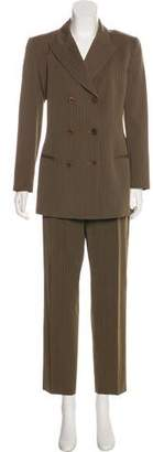 Calvin Klein Collection Wool Pinstripe Pantsuit