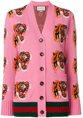 Gucci Tiger Face embroidered cardigan