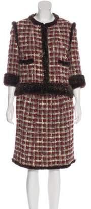 Chanel Fur-Trimmed Skirt Suit Red Fur-Trimmed Skirt Suit