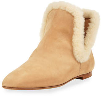The Row Eros Shearling-Trimmed Nubuck Boot