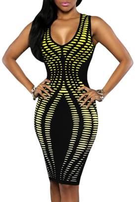 Ninimour Womens V Neck Sleeveless Stripe Print Slim Fit Package Hip Bodycon Dress