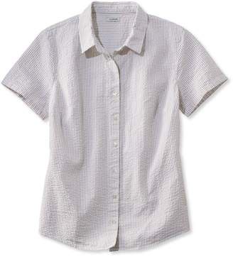 L.L. Bean L.L.Bean Womens Essential Seersucker Shirt, Short-Sleeve Stripe