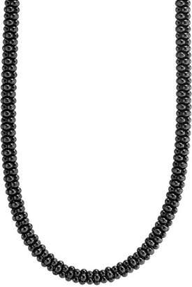 "Lagos Black Caviar Ceramic Necklace with 18K Gold, 16"""