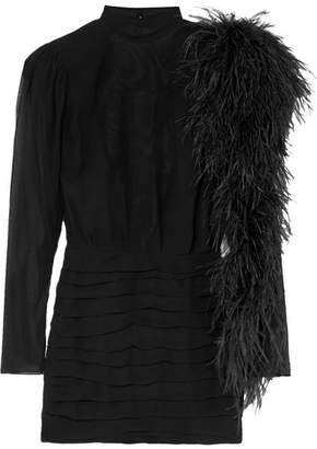 Magda Butrym Dubai Feather-trimmed Silk-georgette Mini Dress - Black