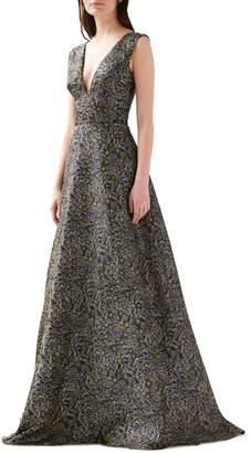 ML Monique Lhuillier Floral Jacquard Gown