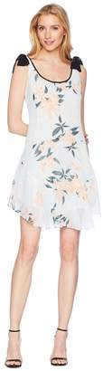 Donna Morgan Printed Chiffon Scoop Neck with Flounce Skirt and Tie Shoulder Women's Dress