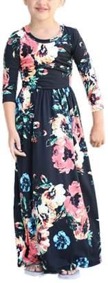 Dongpai Girls Floral Print Pocket 3/4 Sleeve Casual Holiday Beach Flared Maxi Dress