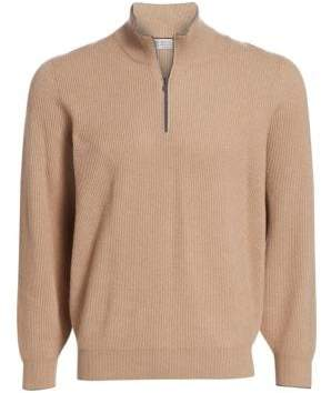 Brunello Cucinelli Half Zip Rib-Knit Wool, Silk& Cashmere Sweater