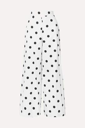 Oscar de la Renta Polka-dot Cotton-twill Wide-leg Pants - White
