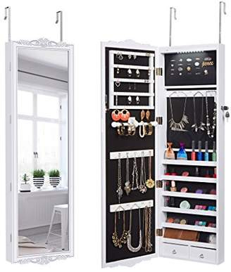 LANGRIA 10 LEDs Jewelry Cabinet Full-Length Lockable Wall-Mounted Over-the-Door Hanging Jewelry Armoire and Accessories Storage Organizer