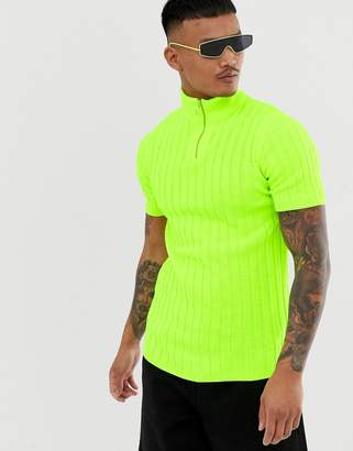 Asos Design DESIGN knitted ribbed half zip t-shirt in neon green