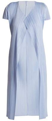 Pleats Please Issey Miyake - Short Sleeved Pleated Jacket - Womens - Light Blue