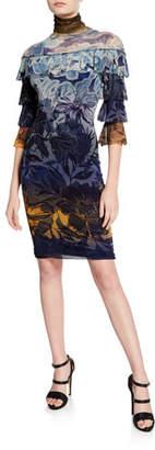 Fuzzi Degrade Floral-Print Turtleneck Tiered Ruffle Dress