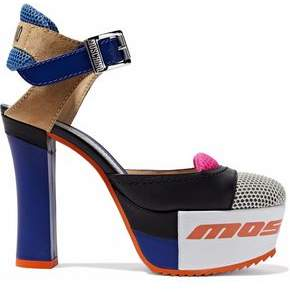 Moschino Color-Block Mesh Suede And Leather Platform Pumps