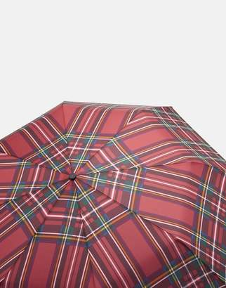 Joules Red Tartan Minilite Compact Umbrella