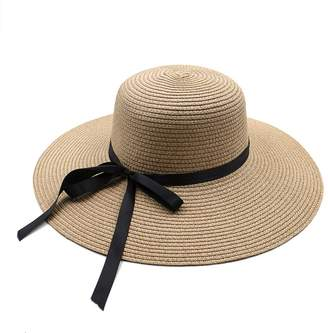 Opromo Women's Foldable Floppy Large Wide Brim Straw Hats Floppy Sun Beach Cap