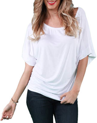 24/7 Comfort Apparel Banded Dolman T-Shirt-Womens